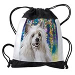 Chinese Crested Painting Drawstring Bag