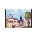Paris Inspired Cityscape Lavender Dk Gray Border b