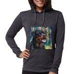 Rottweiler Painting Womens Hooded Shirt
