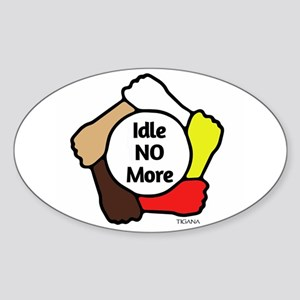 Idle No More - Five Hands Sticker (Oval)