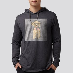 Hipster Poodle Mens Hooded Shirt