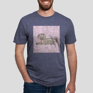 Hipster Dachshund Mens Tri-blend T-Shirt