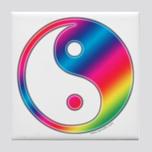 Rainbow Yin Yang Tile Coaster