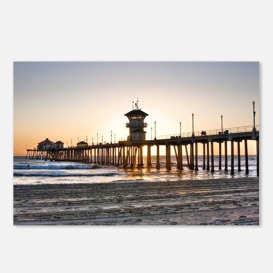 HDR Huntington Beach Pier at Sunset Postcards (Pac