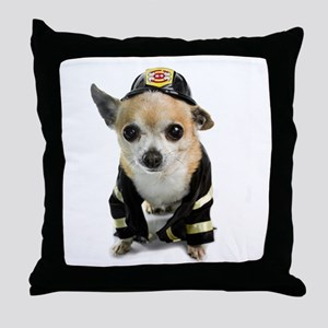 Firefighter Chihuahua Throw Pillow