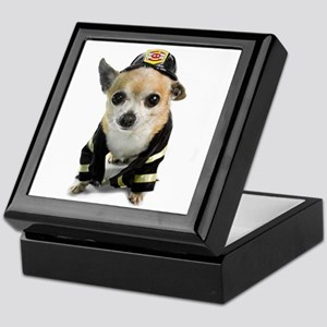 Firefighter Chihuahua Keepsake Box
