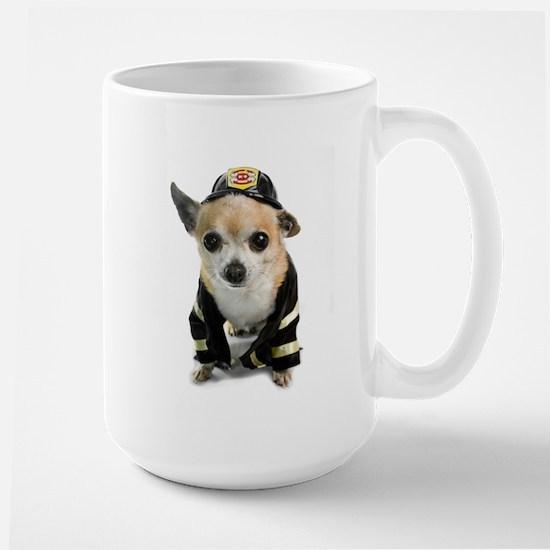 Firefighter Chihuahua Large Mug