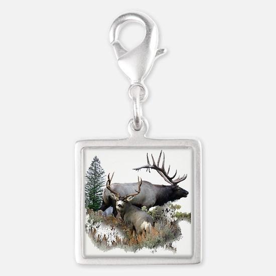 Buck deer bull elk Silver Square Charm