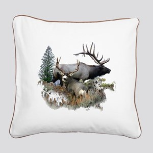 Buck deer bull elk Square Canvas Pillow