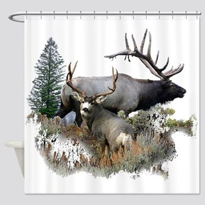 Buck deer bull elk Shower Curtain