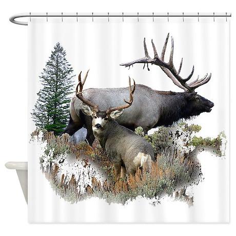 Buck Deer Bull Elk Shower Curtain By Saltypro Shop
