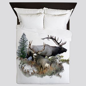 Buck deer bull elk Queen Duvet