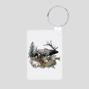 Buck deer bull elk Aluminum Photo Keychain
