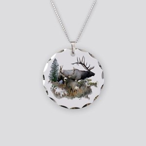 Buck deer bull elk Necklace Circle Charm