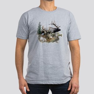 Buck deer bull elk Men's Fitted T-Shirt (dark)
