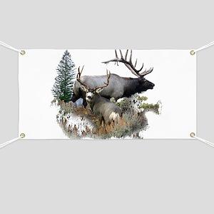 Buck deer bull elk Banner