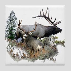 Buck deer bull elk Tile Coaster