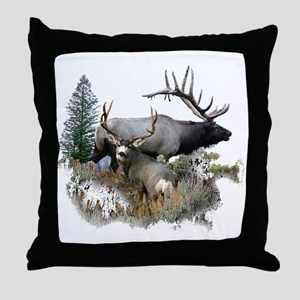 Buck deer bull elk Throw Pillow
