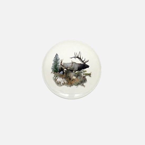 Buck deer bull elk Mini Button
