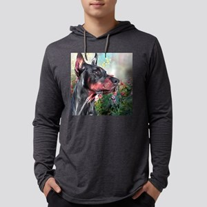 Doberman Painting Mens Hooded Shirt