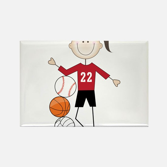 Female Athlete Rectangle Magnet