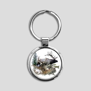 Buck deer bull elk Round Keychain