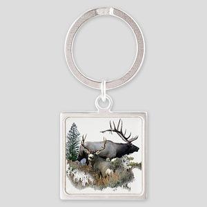 Buck deer bull elk Square Keychain