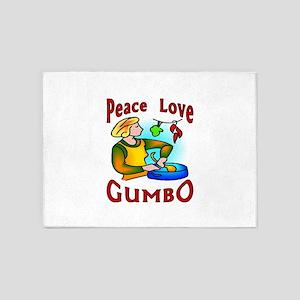 Peace Love Gumbo 5'x7'Area Rug