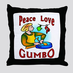 Peace Love Gumbo Throw Pillow