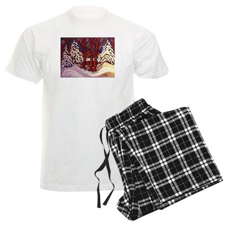 Winter by the Lake Men's Light Pajamas