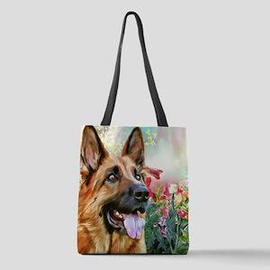 German Shepherd Painting Polyester Tote Bag