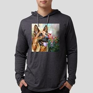German Shepherd Painting Mens Hooded Shirt