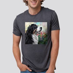 Bernese Mountain Dog Painting Mens Tri-blend T-Shi