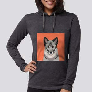 Norwegian Elkhound Womens Hooded Shirt