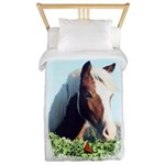 1aaa Fun Horse Pix W Text Twin Duvet