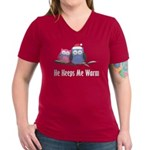 He Keeps Me Warm Owls Women's V-Neck Dark T-Shirt