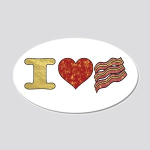 I Heart Bacon 20x12 Oval Wall Decal