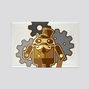 Steampunk Android Rectangle Magnet