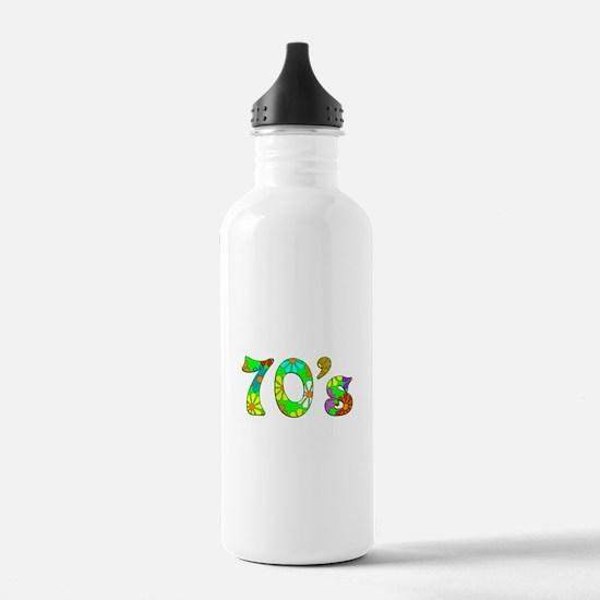70's Flowers Water Bottle