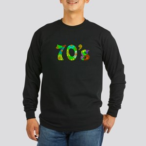 70's Flowers Long Sleeve Dark T-Shirt
