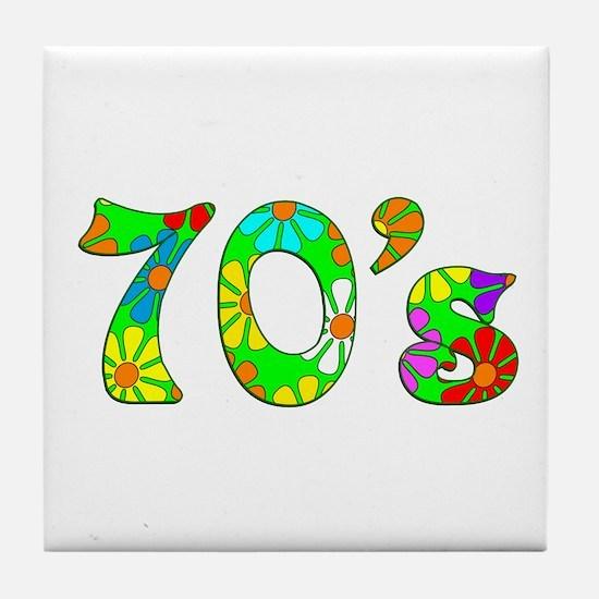70's Flowers Tile Coaster