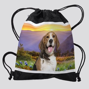 Beagle Meadow Drawstring Bag