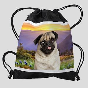 Pug Meadow Drawstring Bag