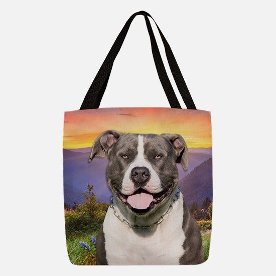 Pit Bull Meadow Polyester Tote Bag