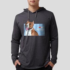 I Love My Pit Bull Mens Hooded Shirt
