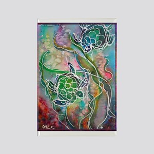 Turtles! Sea turtles! Wildlife art! Rectangle Magn