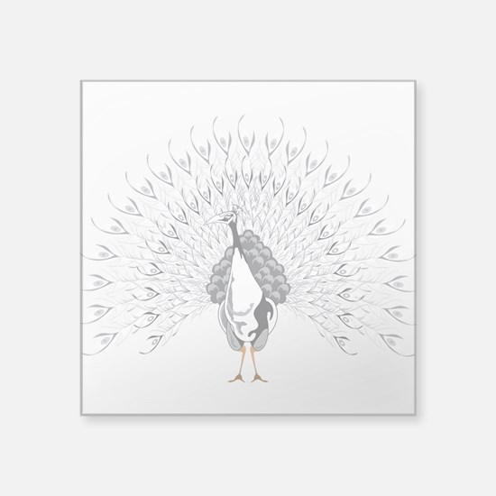 """White Peacock Square Sticker 3"""" x 3"""""""