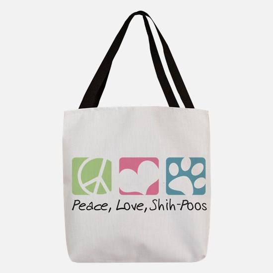 Peace Love Shih Poos Polyester Tote Bag