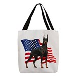 Patriotic Doberman Polyester Tote Bag