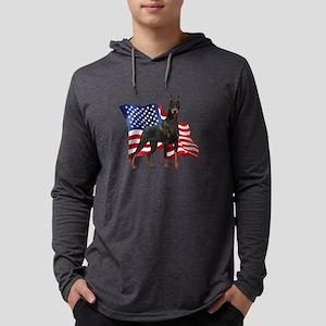 Patriotic Doberman Mens Hooded Shirt